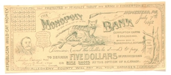 Anti McKinley Tariff, Homestead Republican Wildcat Money