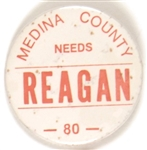 Medina County Needs Reagan 1980 Pin