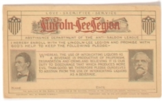 Lincoln-Lee Legion Temperance Membership Card