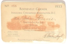 Roosevelt-Garner Texas Elector Pass for 1933 Inauguration