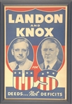 Landon and Knox for US, Deeds not Deficits