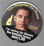 New Hampshire for Obama 2008 Primary Pin