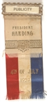 Harding Pacific Tour 4th of July Publicity Ribbon