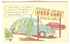 Truman Used Cars Postcard