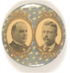 McKinley-Roosevelt Beautiful Blue, Gold Stars Celluloid