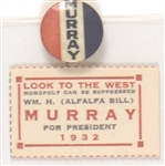 Alfalfa Bill Murray for President Pin and Stamp
