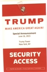 Trump Security Access Convention Badge
