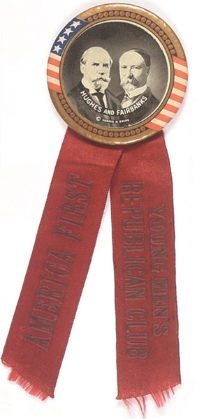 Hughes-Fairbanks America First Rare Celluloid and Ribbon