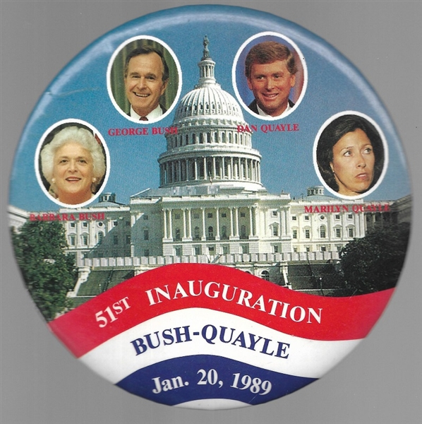 George and BArbara Bush, Quayles Giant 6 inch Pin
