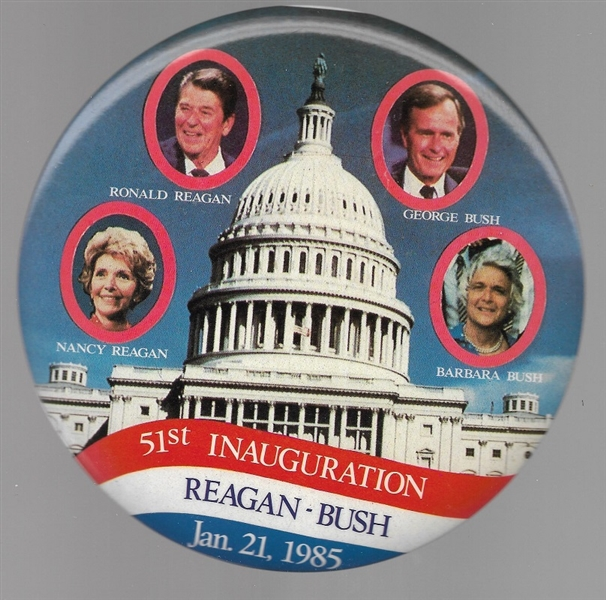 Reagans and Bushes 6 Inch Inaugural Pin