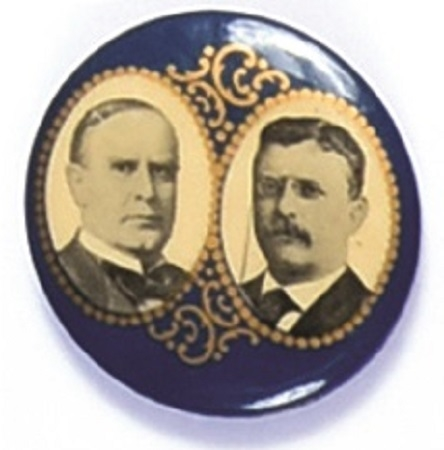 McKinley, Roosevelt Blue Jugate With Filigree