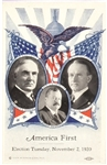 Harding, Coolidge, Penrose America First Election Card
