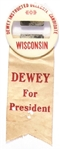 Dewey Scarce Wisconsin Delegate Badge, Ribbon
