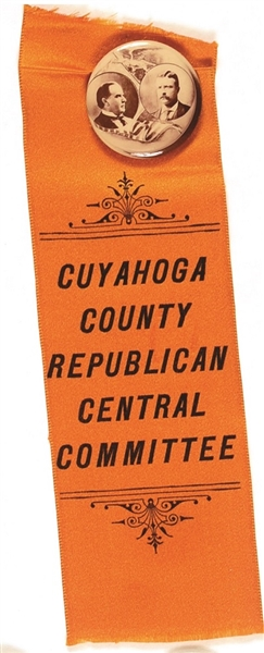 McKinley, Roosevelt Cuyahoga County Republican Central Committee Pin and Ribbon