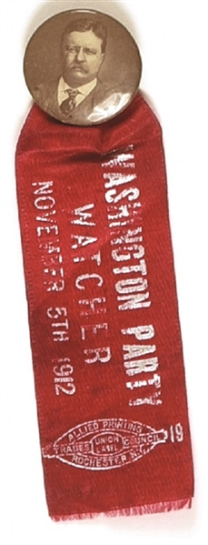 Theodore Roosevelt Washington Party Watcher Pin and Ribbon
