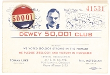 Dewey Oregon 50,001 Club Pin and Membership Card