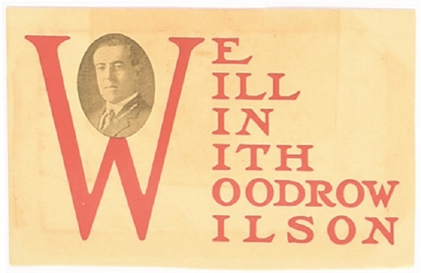 We Will Win With Woodrow Wilson Postcard