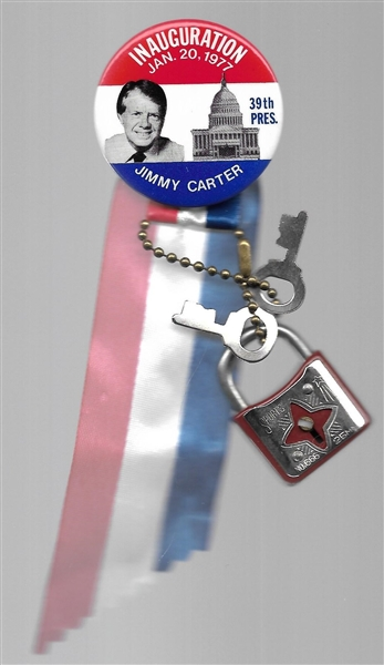 Jimmy Carter Inaugural Pin with Lock and Keys
