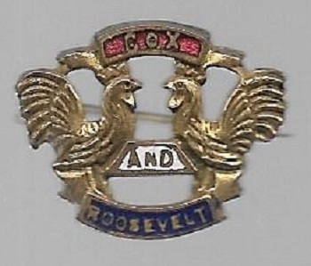 Cox, Roosevelt Rare Roosters Enamel Pin