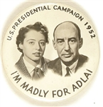 Madly for Adlai Stevenson Portrait Pin