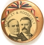 McKinley, Roosevelt Ribbon Design Pin with Names