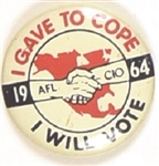 Johnson I Gave to COPE, AFL-CIO