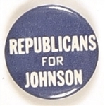 Republicans for Johnson Blue Celluloid