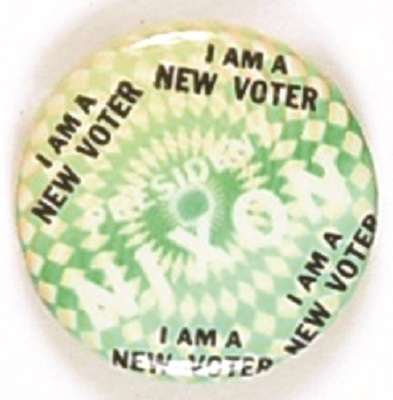 Nixon New Voter Green Psychedelic Pin