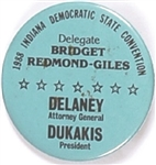 Dukakis, Indiana State Convention Delegate Pin