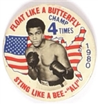 Ali Floats Like a Butterfly 4 Time Champion