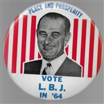 Vote LBJ Peace and Prosperity 6 Inch Celluloid