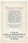 Cox and Roosevelt Women Voters League of Nations Pamphlet