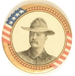 Theodore Roosevelt Large Rough Rider Pin, Gold Border
