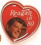 Reagan in 80 Heart Pin