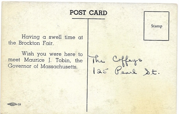 Maurice Tobin Massachusetts Postcard