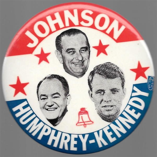 Johnson, Humphrey, Kennedy Liberty Bell Pin