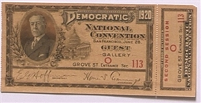 James Cox 1920 Democratic Convention Ticket
