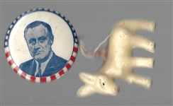 FDR Stars and Stripes Pin, Donkey Charm
