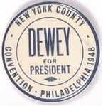 New York County Dewey for President Pin