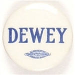 Dewey Blue and White Celluloid