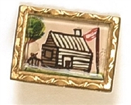 William Henry Harrison Painted Log Cabin and Hard Cider Pin