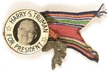 Harry S. Truman for President Celluloid with Donkey Charm, Ribbon