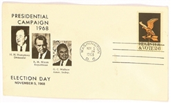 Humphrey, Nixon, Wallace 1968 Election Day Cover