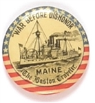 War Before Dishonor Battleship Maine Boston Tribune Pin
