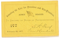 Hayes 1876 Vote Count Congress Ticket
