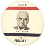 Vote Truman for President Large Red, White, Blue Picture Pin