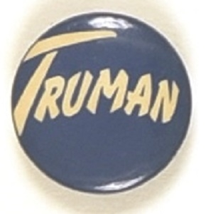 Truman Blue and White, Unusual Lettering Celluloid Pin