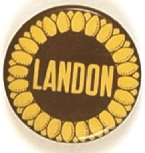 Alf Landon Celluloid Sunflower Pin