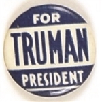 Truman for President Blue and White Celluloid