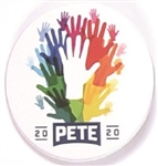 Pete Buttigieg Rainbow of Hands Pin
